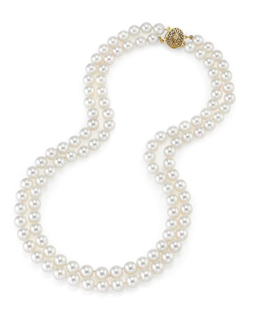 14K Gold Japanese Akoya White Cultured Pearl Double Strand Necklace - AA+ Quality, 18-19'' Necklace Length