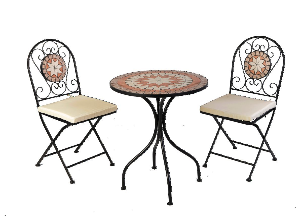 Amazon.de: Designer Mosaik Bistro Set Metall pulverbeschichtet ...