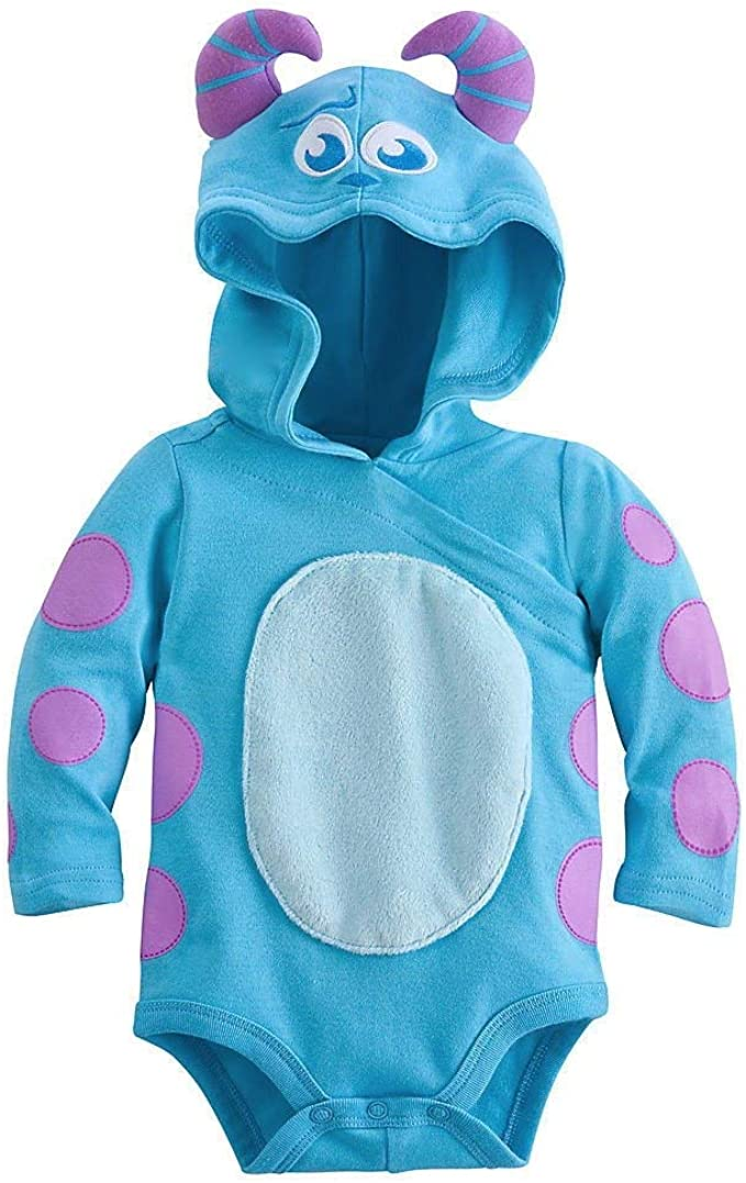 Amazon Com Disney Sulley Monsters Inc Baby Halloween Costume Bodysuit Hooded Size 3 6 Months Blue Clothing
