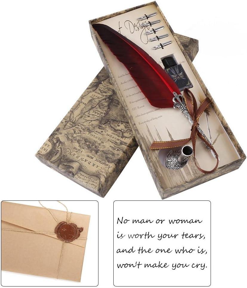 Tintentank Akozon Antiken Feder Kalligraphie Stift Quill Feder Dip Pen Antik Kalligraphie Schreibtinte Dip Pen Geschenkbox Set Pen Nib Halter 6 Metallspitzen Rot