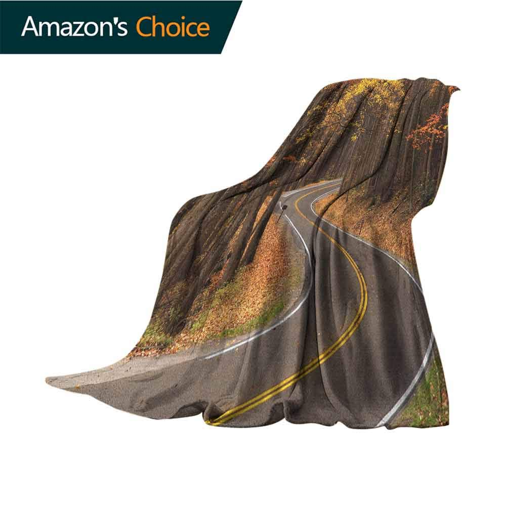 Fall Queen Size Blanket,Curvy Roadway Through The Forest Great Smokey Mountains Change of Seasons Traveling 300GSM,Super Soft and Warm,Durable Blanket,50'' Wx60 L Multicolor
