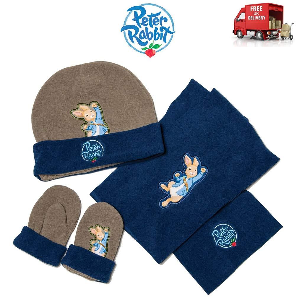 Peter Rabbit & Friends Hat Gloves & Scarf Set Blue & Khaki Adventurer BBC One Size BPPR103002 TheGoodLifeCo.