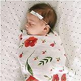 全6柄 ベビー おくるみ モスリンコットン 赤ちゃん ブランケット バスタオル 柔らかく ガーゼ 毛布 花柄 北欧 INS 人気 撮影小物 出産祝い プレゼント (レッド花)