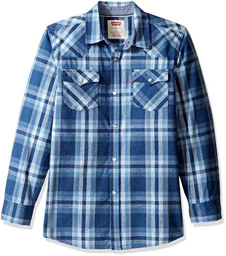 - Levi's Boys' Big Plaid Western Shirt, Dress Dutch Blue, Medium