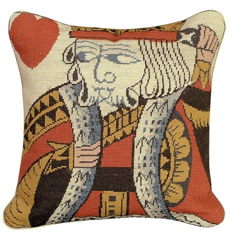 [Deluxe Pillows King of Hearts 12 x 12 Petit Point Pillow] (Petit Point Heart)