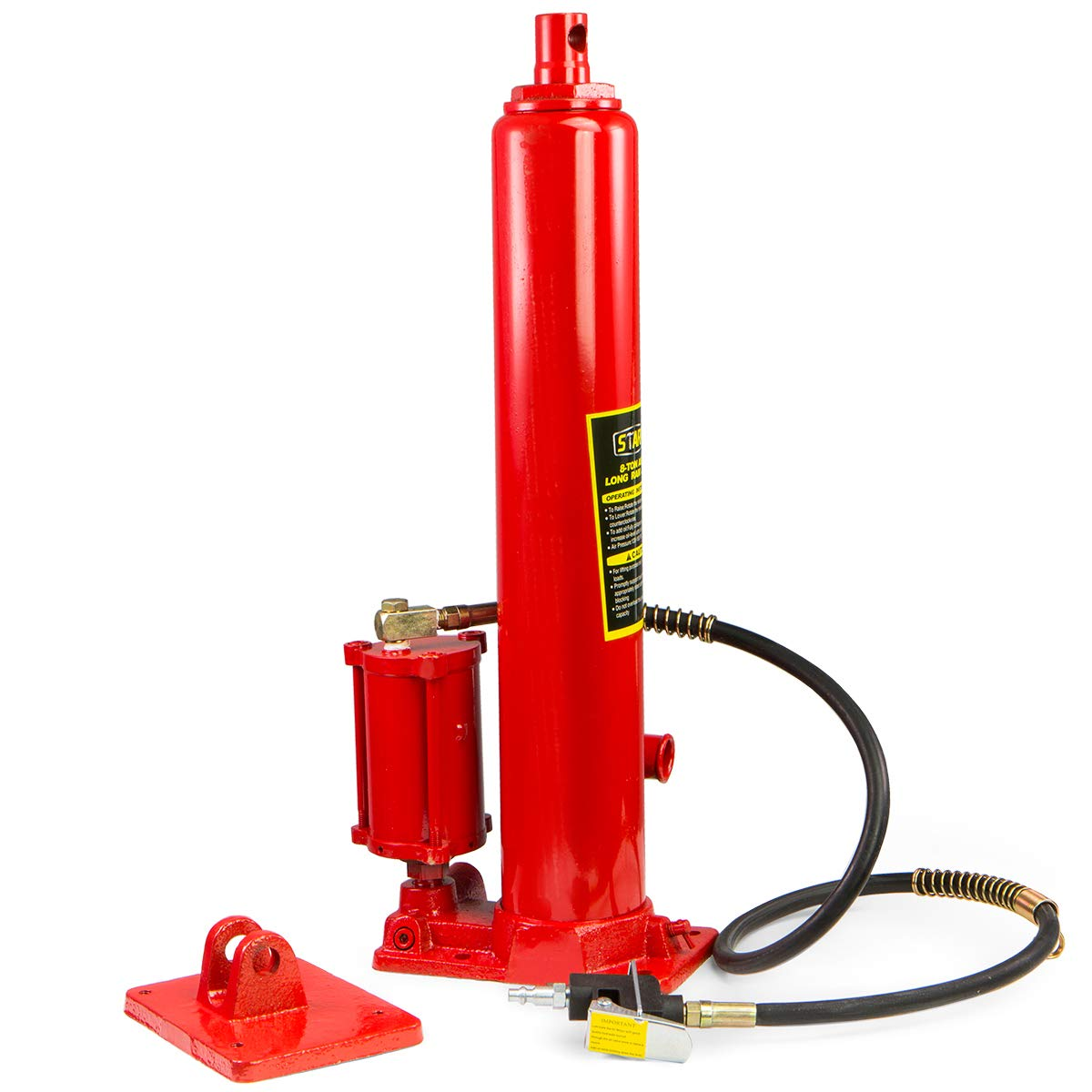 XtremepowerUS 8 Ton Air/Hydraulic Long Ram Jack Piston Ram 8-Ton Capacity Cherry Crane Shop Engine Hoist Lift, Red by XtremepowerUS