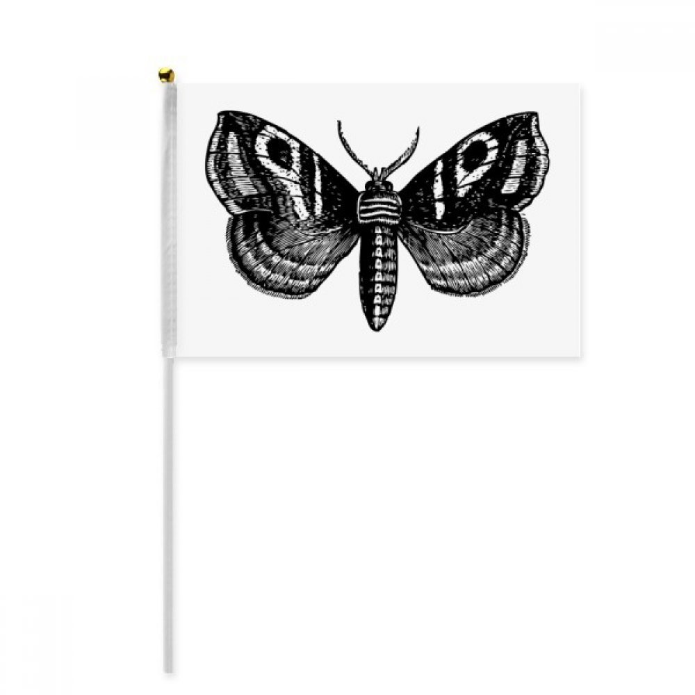 Black Butterfly with Simple Pattern Hand Waving Flag 8x5 inch Polyester Sport Event Procession Parade 4pcs