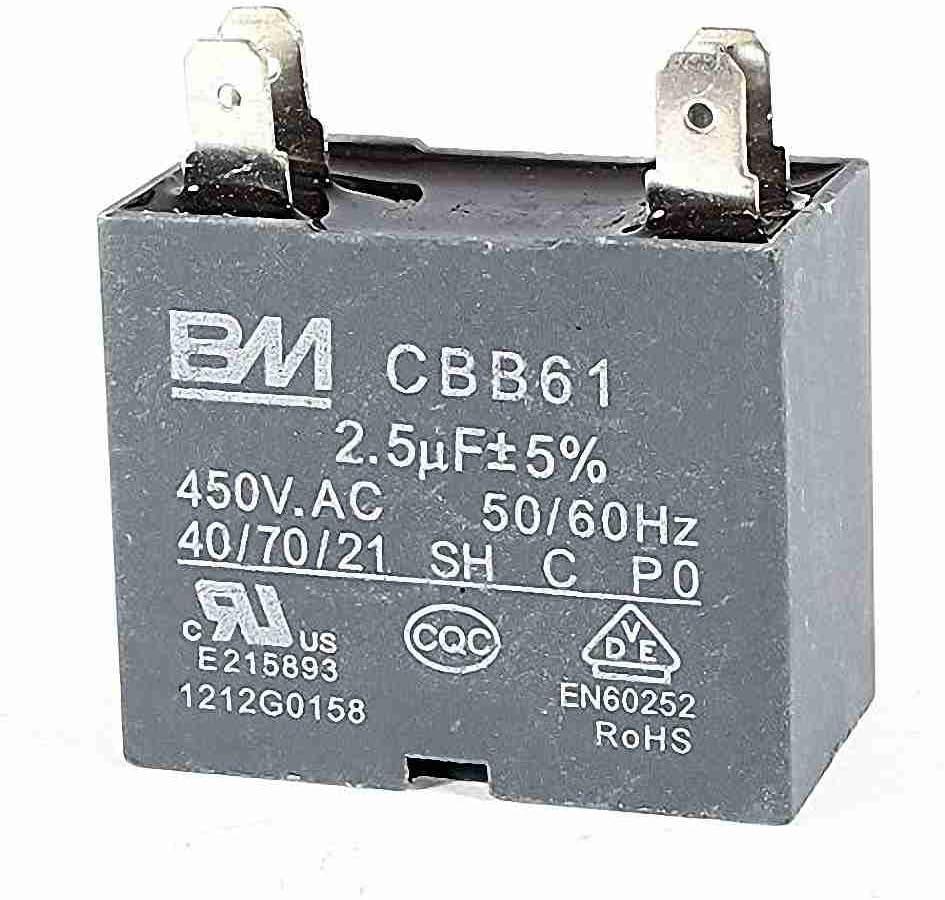 CBB61 AC450V 2.5uF Ventilador de techo 4 pernos Motor Run Capacitor Gray: Amazon.es: Coche y moto
