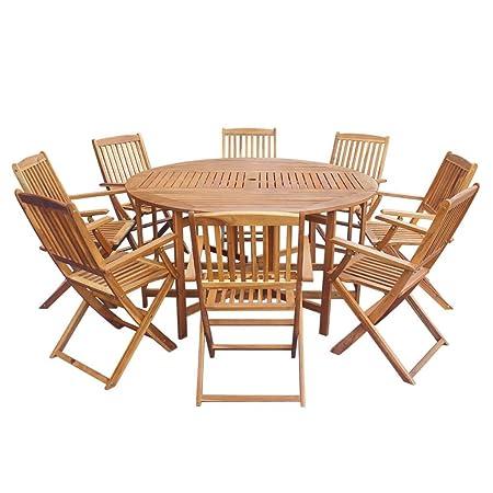 Tavolo E Sedie Da Giardino Legno.Festnight Set Da Pranzo Da Giardino Con Tavolo Ovale Pieghvoli E 6