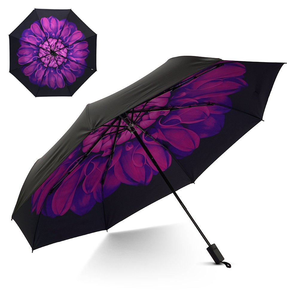 Flexzion Small Travel UV Sun & Rain Umbrella - Windproof & Sun UV Protection Screen Shade Block Compact Mini Portable Folding Umbrella with Handle Wrist Strap and Carrying Bag (Purple Flower)