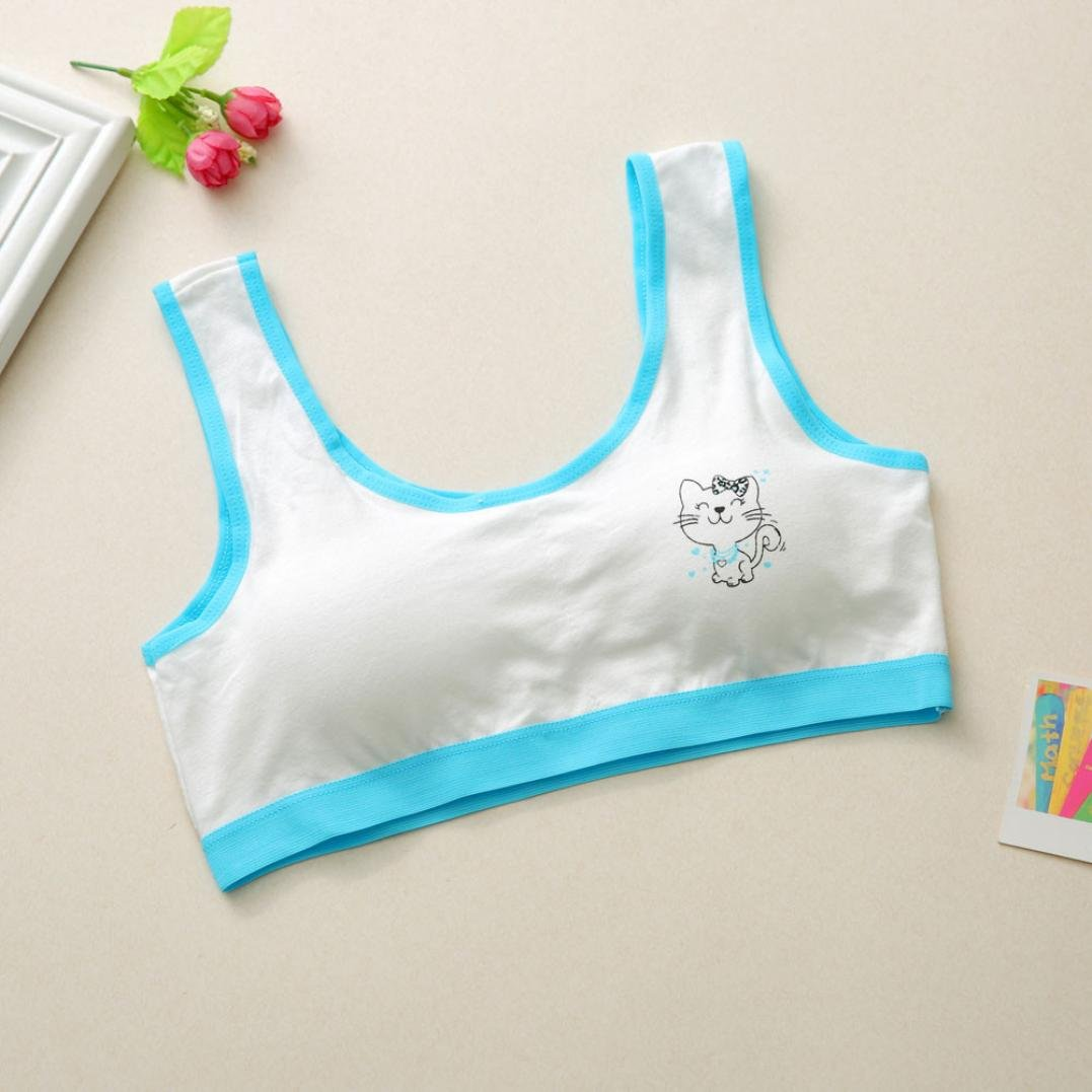 Quistal Puberty Growing Young Girls Comfy Touch Cotton Training Sports Bra Kids Nightwear Cute Cat Pattern