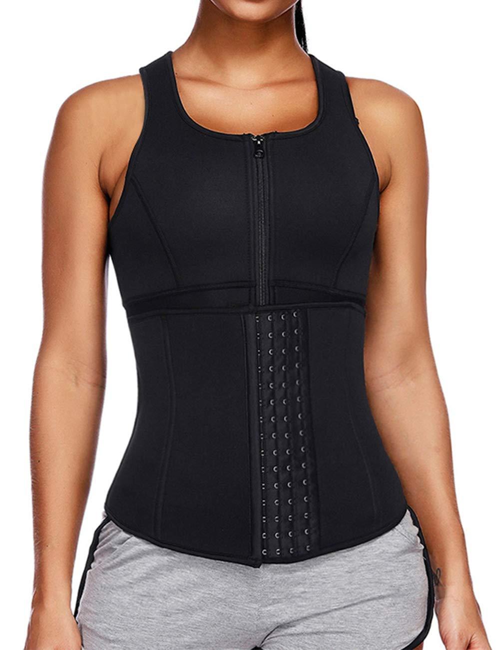 HEXIN Women's Neoprene Waist Trainer Vest Steel Boned Slimming Sauna Sweat Vest 4 Rows Hooks Adjustable Waist Shapers