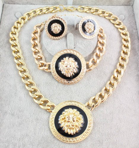 2014 Trendy Shiny Gold-tone Enamel Lion Head Choker Necklace Bracelet Earring Sets