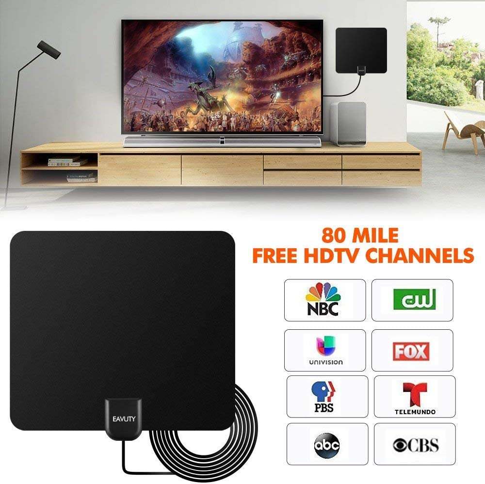 Newest 2020 HDTV Antenna Digital Amplified HD TV Antenna 50-80 Mile Range 4K 1080P HD VHF UHF Freeview Television Local Channels w//Detachable Signal Amplifier and 13.8ft Coax Cable//USB Power Adapt