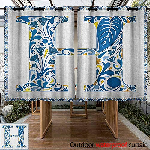 (AndyTours Outdoor Window Curtains,Letter H,Azulejo Frame Flowers and Leaves Abstract Color Scheme Portuguese Inspired,Waterproof Patio Door Panel,K160C183 Blue Yellow Orange )
