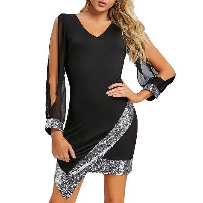 e1d3d10368c beautyjourney Vestido de Fiesta con Cuello de Pico para Mujer Vestido  Ajustado asimétrico Delantero Vestido de Noche Vestido de cóctel Clubwear de  ...