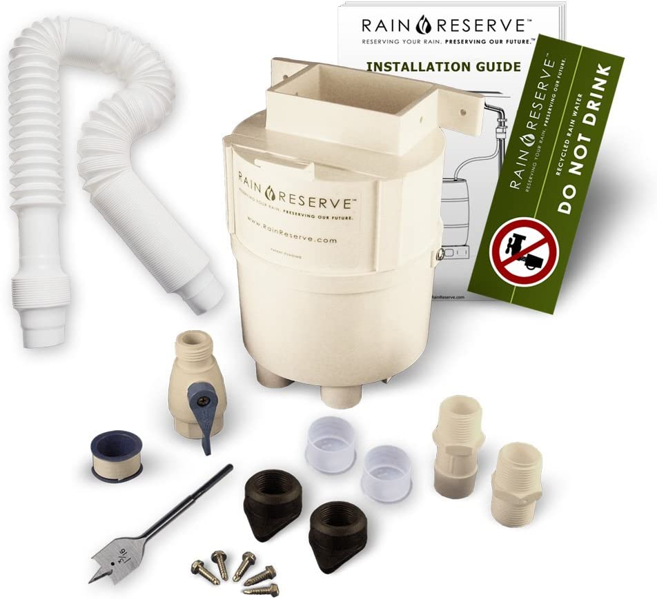 Barrel Not Included RainReserve 2012304 Rain Barrel Complete Diverter Kit double capacity