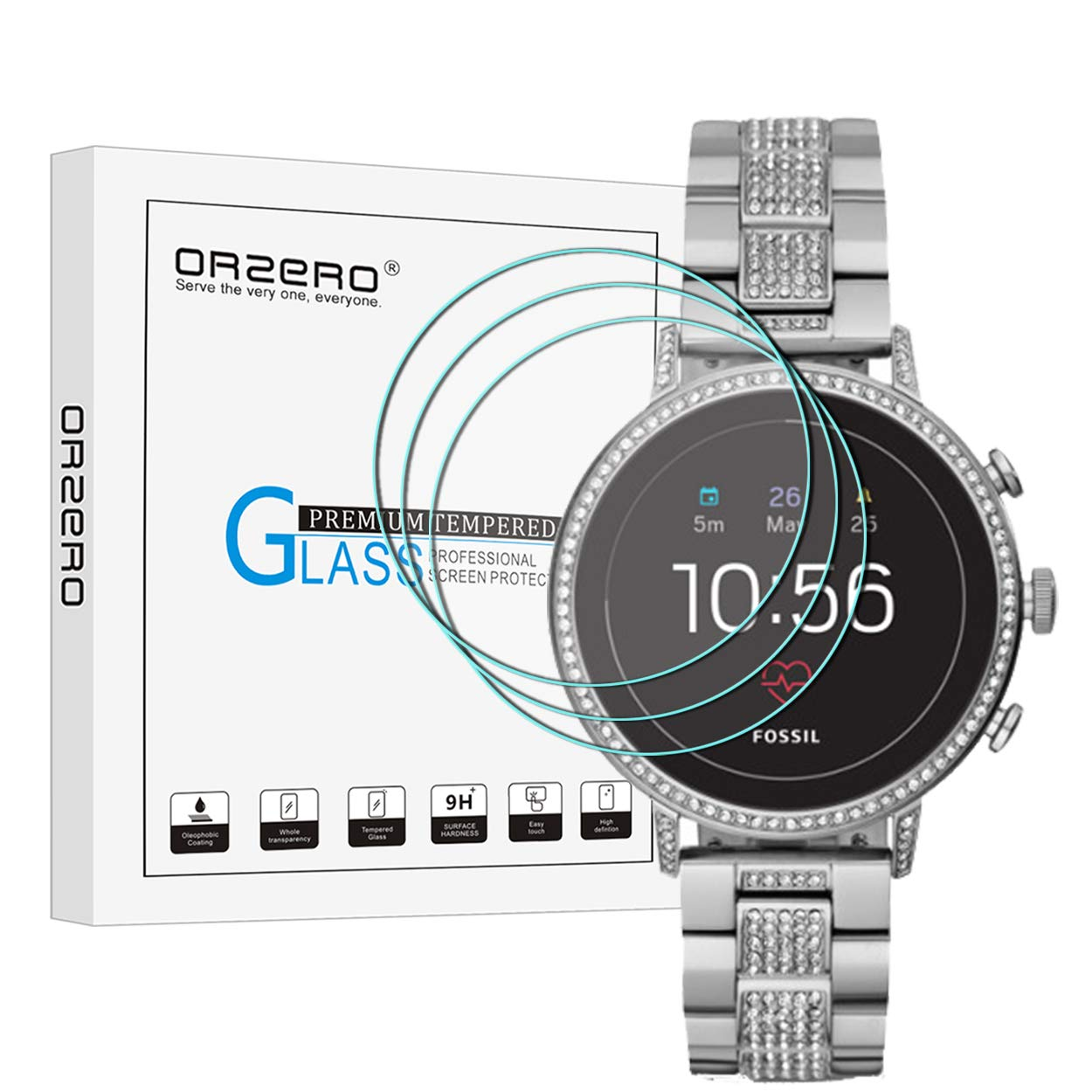 [3 Pack] Orzero for Fossil Women's Gen 4 Q Venture HR Smartwatch Tempered Glass Screen Protector, 2.5D Arc Edges 9 Hardness HD Anti-Scratch Bubble-Free [Lifetime Replacement Warranty]