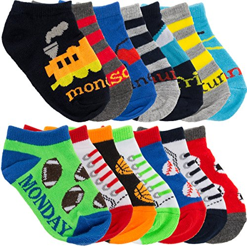(Planet Sox (14 Pairs) Toddler No Show Days Of The Week Socks Shoe Size 5.5-8.5 Colorful Variety Pack)