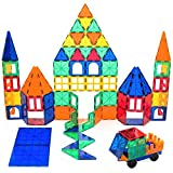 Playbees 100 Piece Magnetic Building Toy Building Blocks, Vivid Clear Colors 3D Magnetic Tiles Set 100 pc