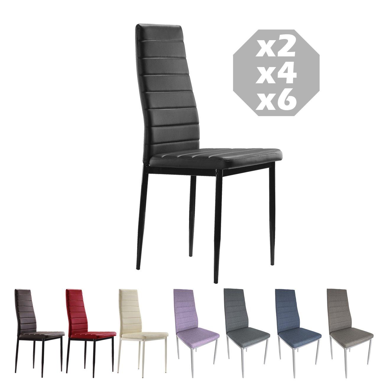 MOG CASA - Conjunto de 2, 4 o 6 sillas de Comedor con Patas metálicas