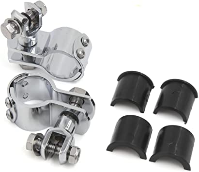 """1-1//4/"""" 1.25/"""" Motorcycle Highway Pegs Foot Rest Crash Bar Mount Clamps For Harley"""