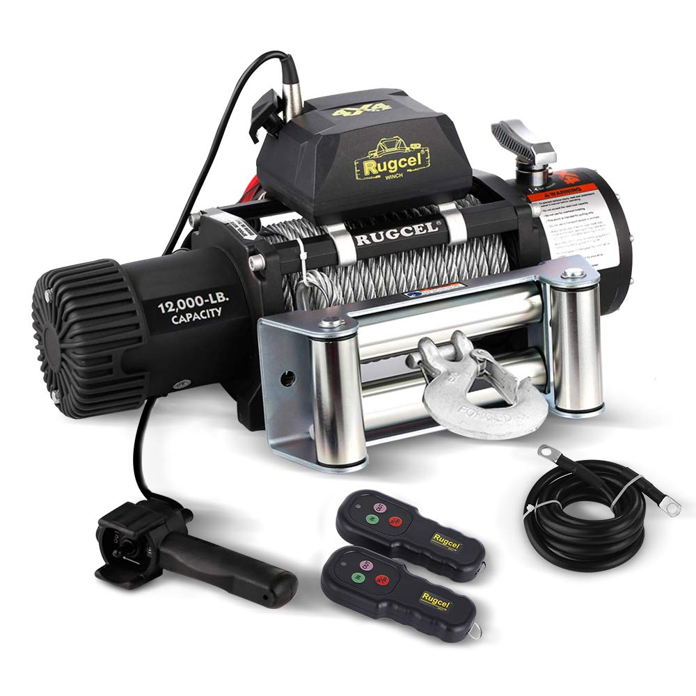 RUGCEL WINCH Waterproof IP68 Electric Winch with Hawse Fairlead,Steel Wire Rope, 2 Wired Handle and 2 Wireless Remote (12000 lb.Load Capacity)
