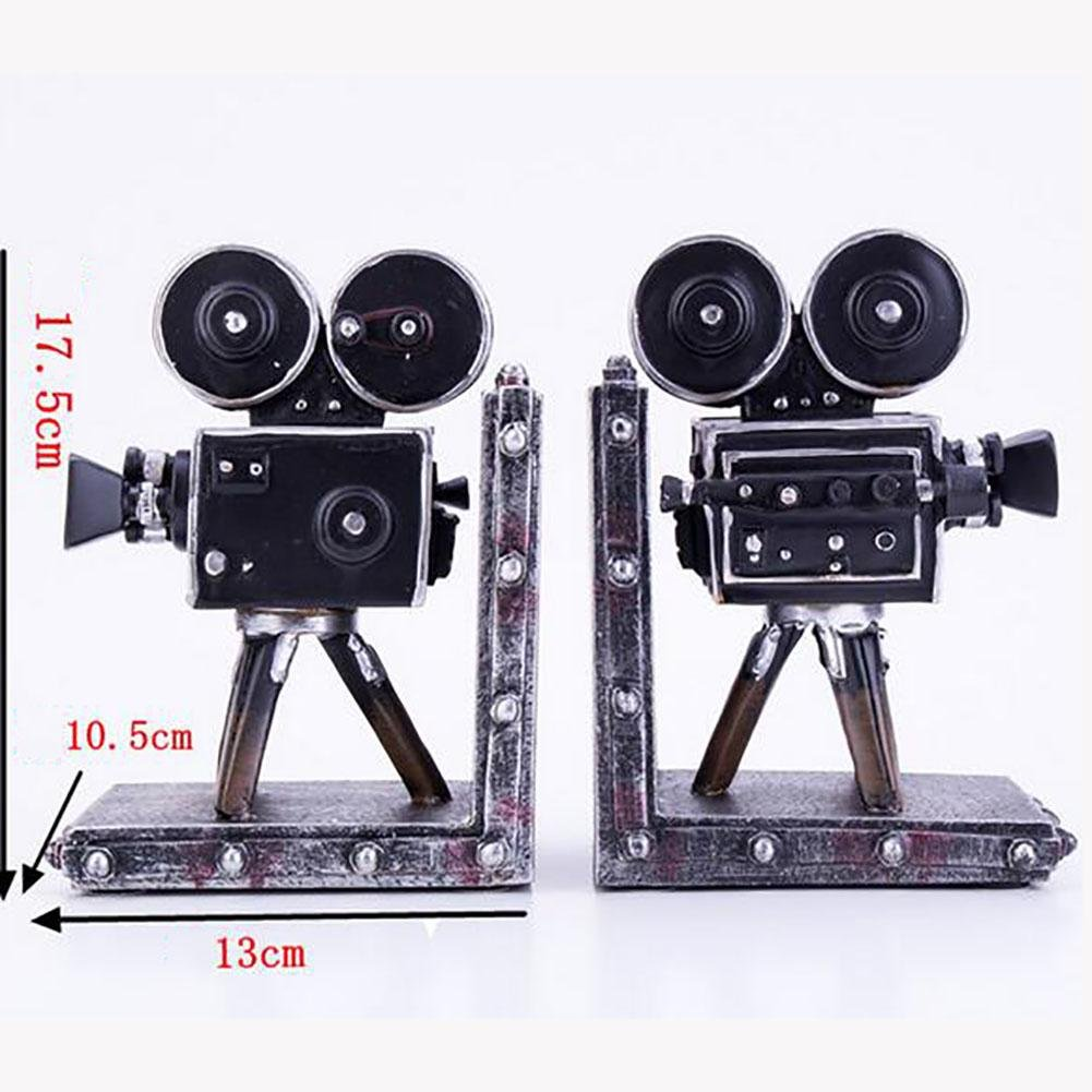 LPY-Set of 2 Bookends Resin Retro Camera Style Crafts, Book Ends for Office or Study Room Home Shelf Decorative