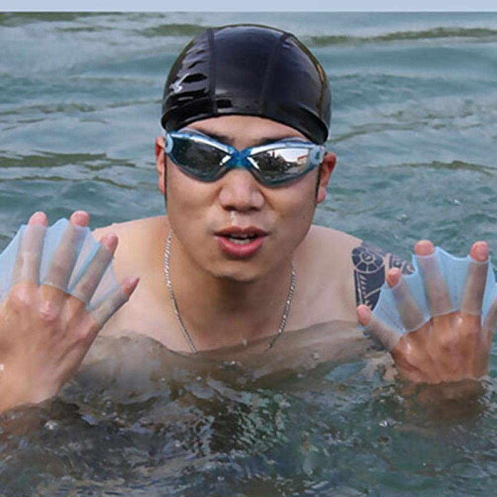 MAXGOODS Silicone Swimming Gear Fins Hand Webbed Flippers Training Glove Fingers Training Webbed Hand Gloves 3 size