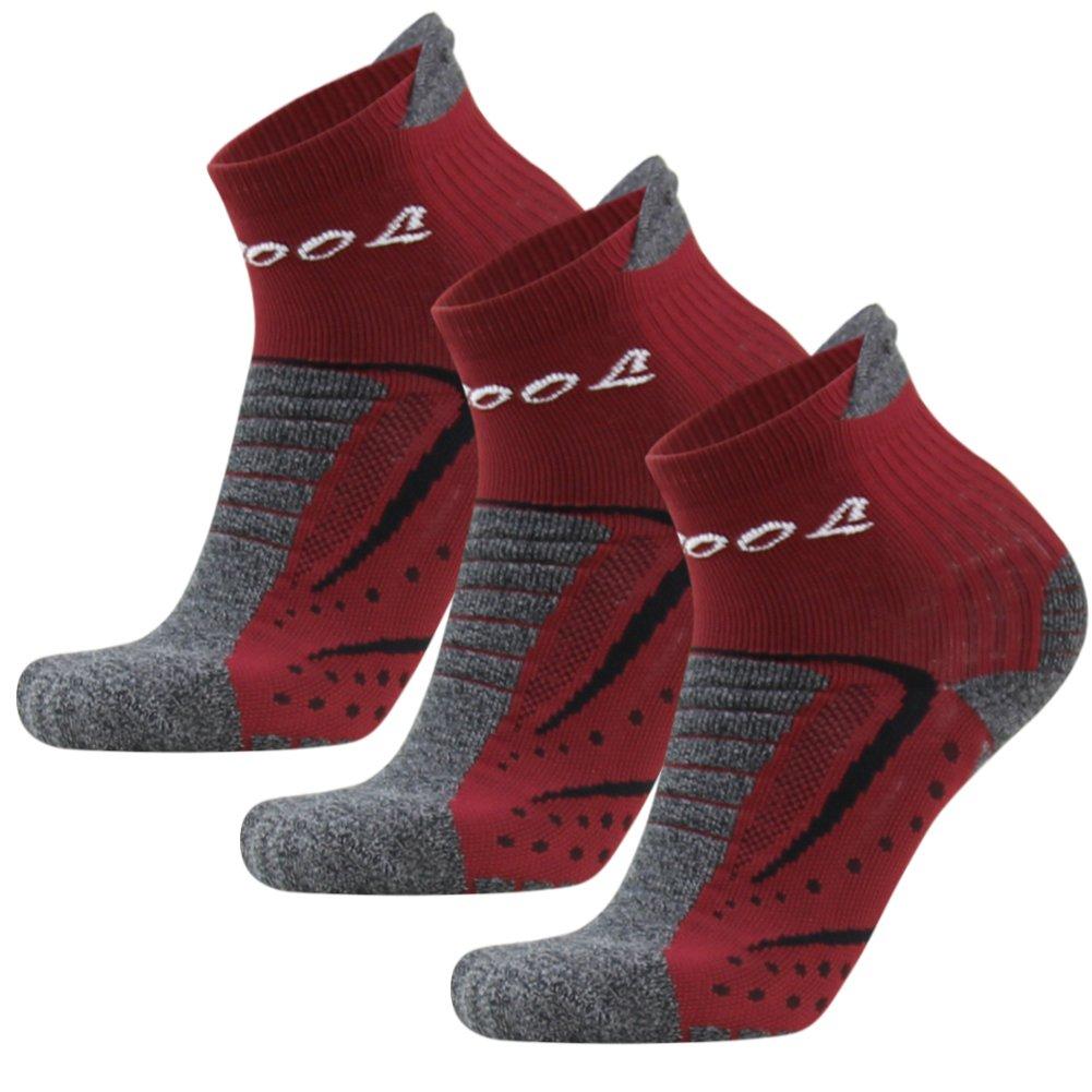 Cushion Running Socks,Facool Running Cycling Socks Men,Padded Walking Socks,Anti Blister Socks,Travel Hiking Socks,3 Pairs Large Dark Red&Grey