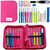Best Crochet Hooks - Athena's Elements Deluxe Ergonomic Crochet Kit - Complete Accessories w/ Needle Case Organizer 9 Sizes 2mm-6mm Soft Handle Perfect for Arthritic Hands For Beginners Kids or Adults