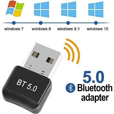 FAGORY Adaptador de Bluetooth 5.0 Bluetooth USB PC Bluetooth Transmisor y Receptor para PC con Windows XP/7/8/8.1/10/Vista, Plug and Play Compatible con Auriculares, Altavoces, Teclados, Ratónes