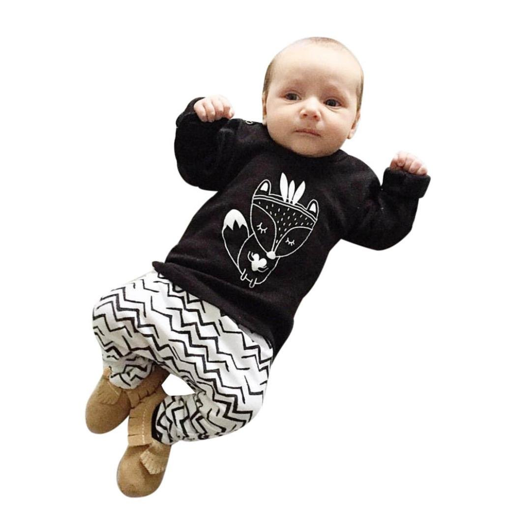 Sumen Baby Kids Boy Fox T-shirt Top+Pants Trousers Outfits Clothing Set BESSKY