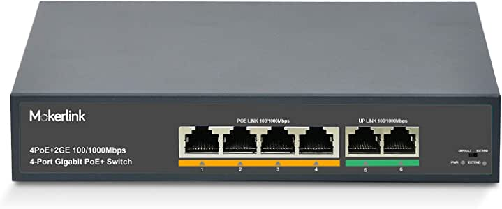 MokerLink 4 Port Gigabit PoE Switch with 2 Gigabit Uplink, 4 PoE+ Ports 1000Mbps, 78W High Power, IEEE802.3af/at, Fanless Metal Plug & Play