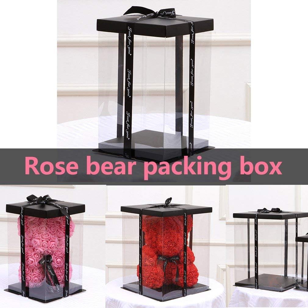 Ours en Peluche Bo/îte Cadeau Vide Transparente pour Ours en Peluche Artificiel Cadeau pour Femme Lapin Cadeau Transparent Rose