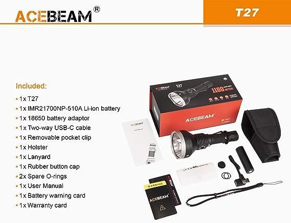 5000K blanco neutro Acebeam X45 CREE XHP70.2 GEN II Linterna LED 18.000 l/úmenes