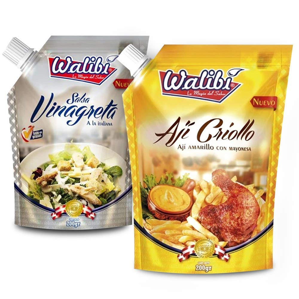 Walibi eJoyStore Aji Criollo & Salsa Vinagreta - Try it on Us! You will be hooked The Taste of FULL TANGY FLAVOR OF HERBS spices, Peppers and OIL in a Pack