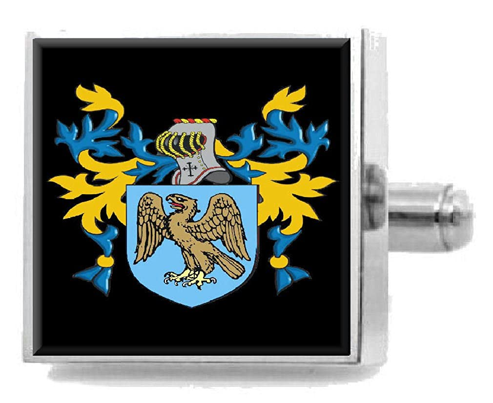 Select Gifts Jenneson England Family Crest Surname Coat Of Arms Cufflinks Personalised Case
