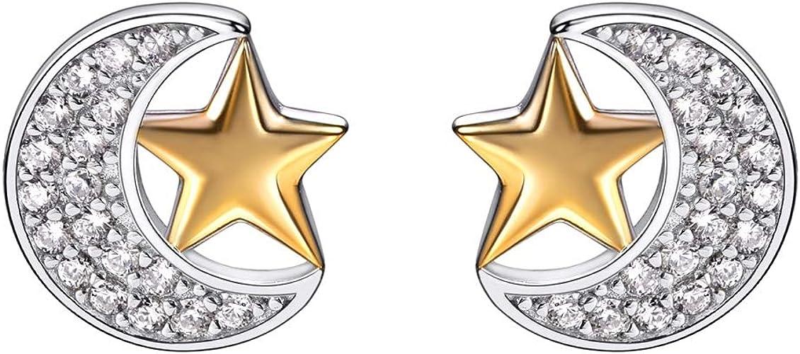 Aretes Plata Esterlina 925 Cristal CZ Star Moon Estilo Mujer Joyería