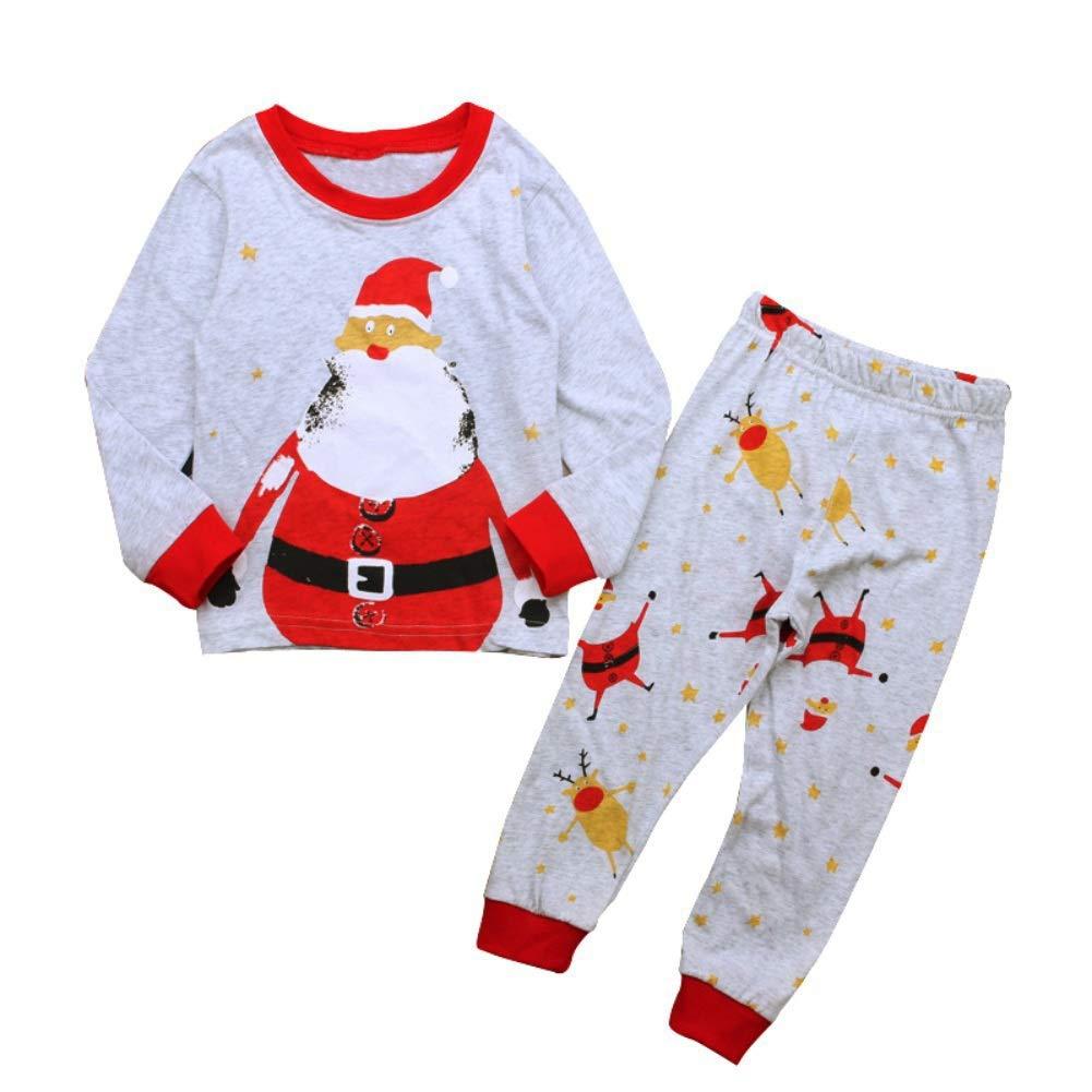 Yalatan Pigiama in cotone natalizio Unisex Baby Boy Pigiama da donna Set da notte 1-6 anni