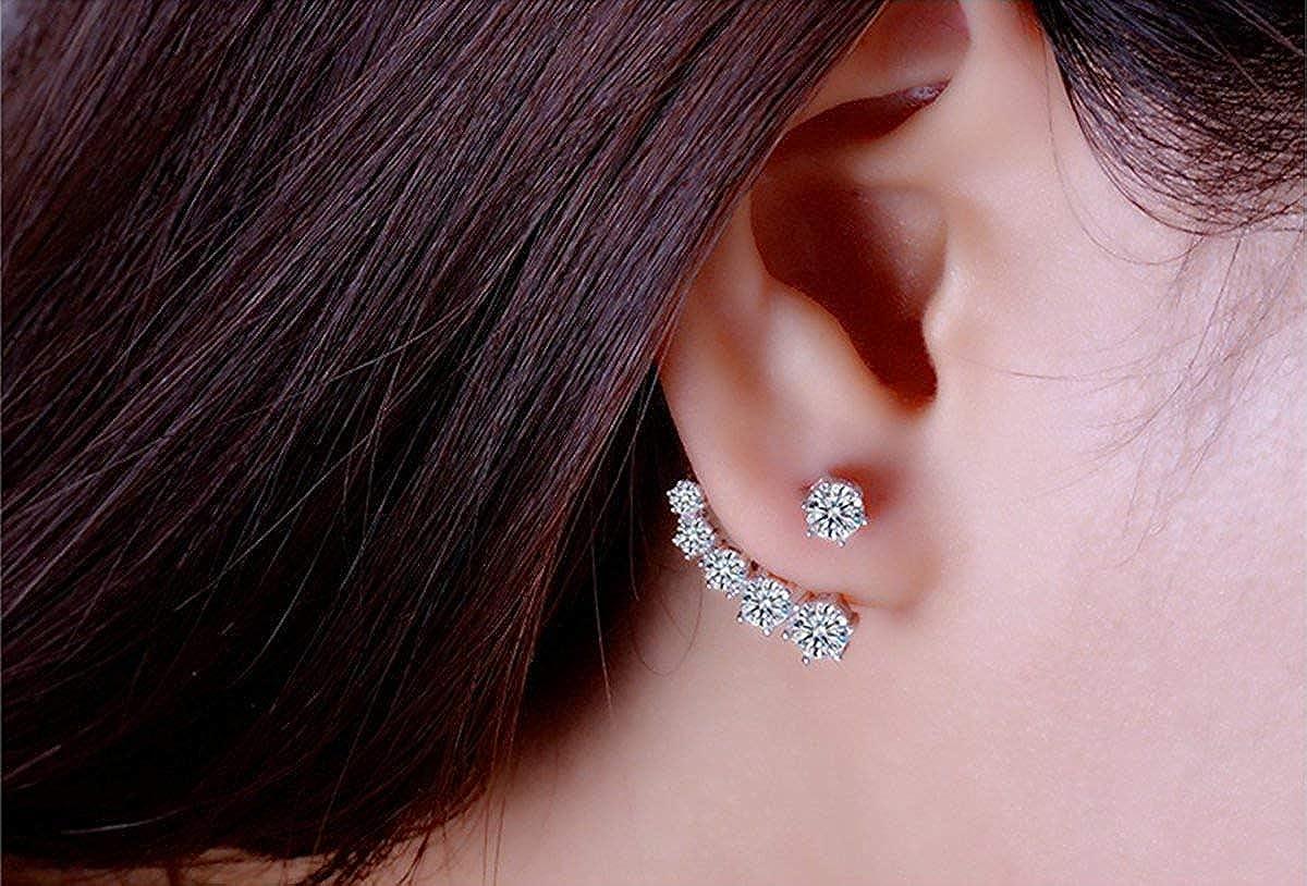 Silver Ear Jacket  Ear Jackets  Edgy earrings  Earring Jackets  Globe Earrings  Gift for Women  Ear Cuff  Front Back Earrings