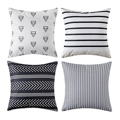 MIULEE Set of 4 Decorative Geometric Pillow Covers Modern Cotton Cushion Covers European Style for Couch Bed Sofa 18x18 Inch 45x45 cm (Brands European Furniture Best Outdoor)
