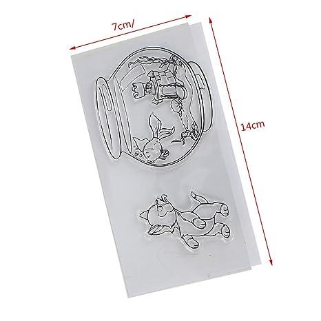 Perfecto para DIY Tarjeta de felicitaci/ón Tarjeta de invitaci/ón de cuaderno Sello transparente de Yiyilam Hoja de sello de silicona Decoraci/ón para DIY /Álbum de tarjetas de Scrapbook Craft