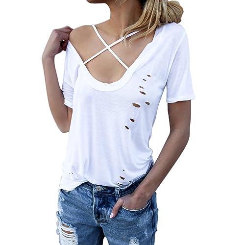 Koly_Fori manica corta donne Collare Croce T-shirt camicetta casuale allentato delle parti superiori...