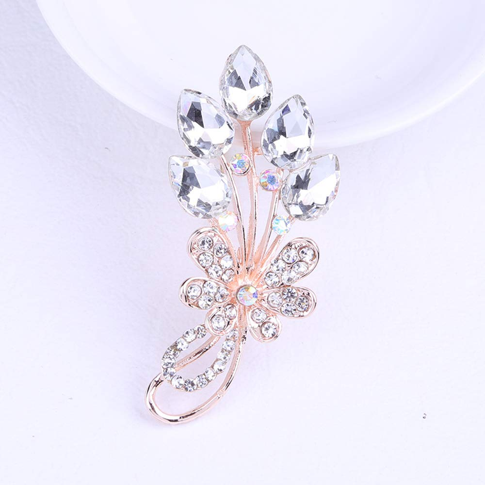 Brooches for women with Crystal Brooch pin with Silver Austrian Element of a leaf in the shape brooch