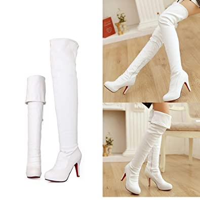 ba27fa8c278 Women Side Zipper 10cm Thin Heeled Dress Long Over The Knee Red Bottom Boots  (5