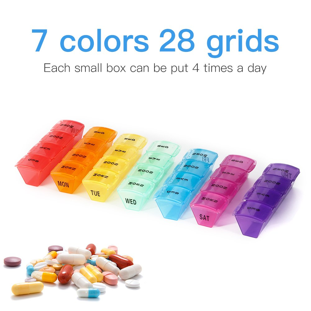 7 Days Pill Organizer Box, GSLL Medicine Remainder Round Small Pill Case 28 Compartments Rainbow Color by GSLL (Image #2)