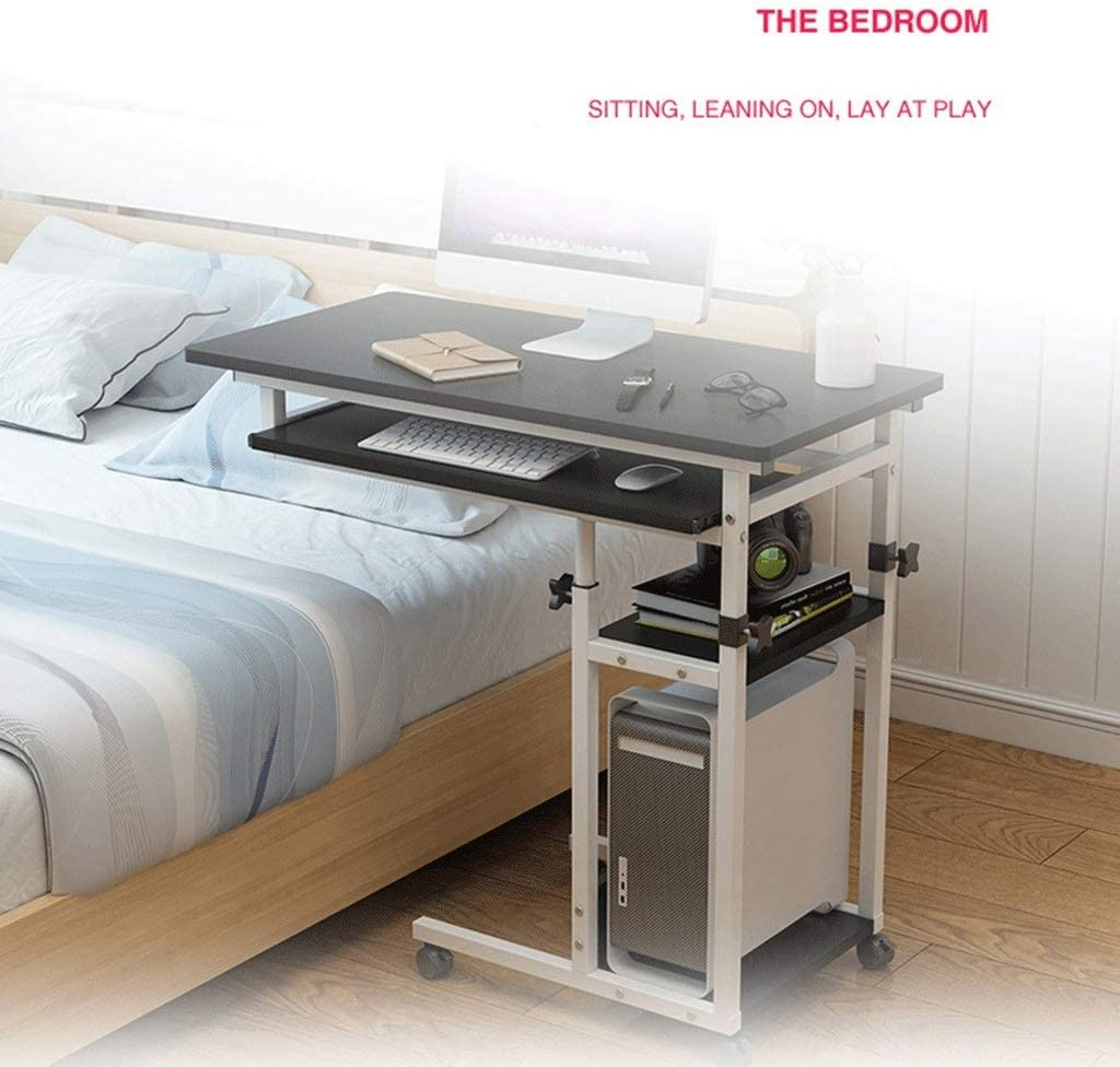 cm 80~100 Color : Wood, Size : 80x40x Tavolino Porta PC Scrivania per Laptop Tavolo Laterale per Letto Divano con Ruote Multifunzionale E Pratico