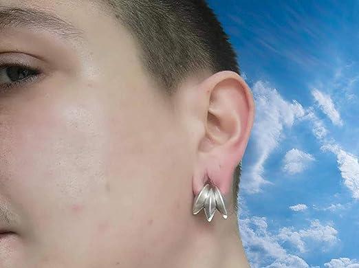Pesos de oreja de pareja plateados plata para lóbulos estirados - Tres pendientes dilataciones orejas - Earrings Plugs
