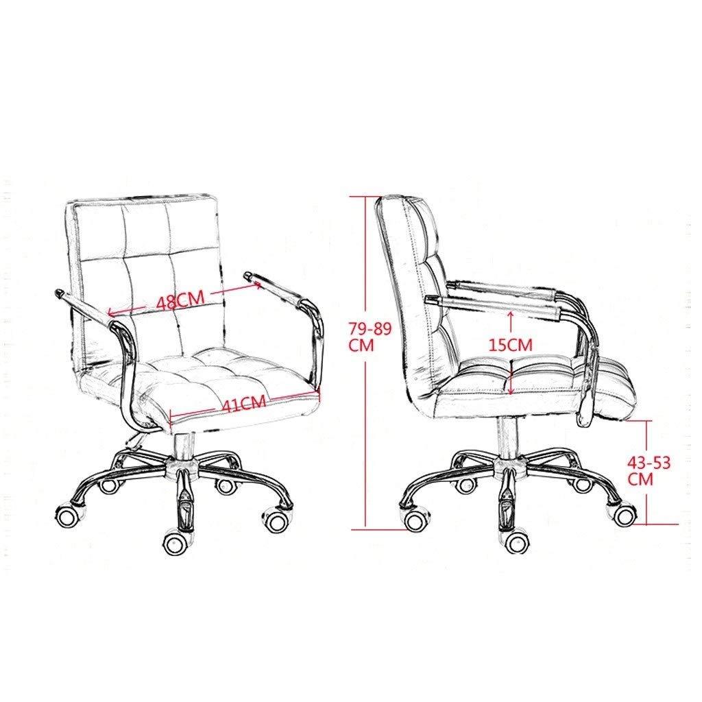 ZXL Executive kontorsstol, vridbar dator skrivbordsstol, justerbara höjdsstolar, falskt läderpallar, hem studierum möbler (färg: svart) Rosa